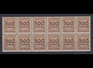 Dt. Reich 313 AP 12er Block mit 2x Plattenfehler Ziffern im Kreis 500 Tsd M **