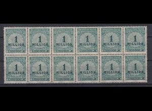 Dt. Reich 314 AP 12er Block mit 2x Plattenfehler Ziffern im Kreis 1 Mio M **