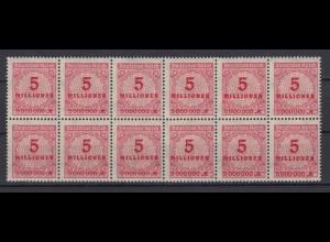 Dt. Reich 317 AP 12er Block mit 2x Plattenfehler Ziffern im Kreis 5 Mio M **