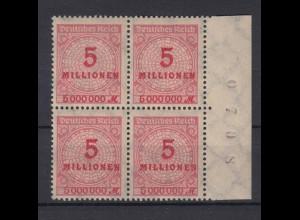 Deutsches Reich 317 AW 4er Block Seitenrand rechts mit Bogennummer 5 Mio M **