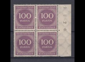 Deutsches Reich 268b Seitenrand rechts + Bogennummer 4er Block Ziffern 100 M **