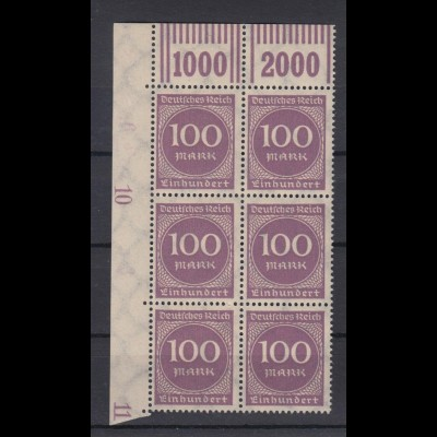 Deutsches Reich 268b Eckrand li. o. + Bogennummer 6er Block Ziffern 100 M ** /1