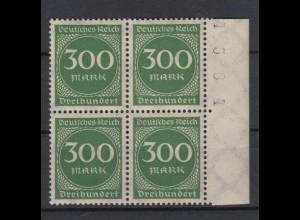 Deutsches Reich 270 mit Seitenrand rechts + Bogennummer 4er Block 300 M **