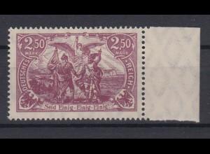 Deutsches Reich 115 f mit Seitenrand rechts Genius mit Fackel 2,50 M postfrisch
