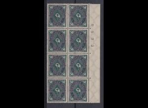 Dt. Reich 209 W II Plf. 8er Block mit Bogennummer Posthorn zweifarbig 50 M **