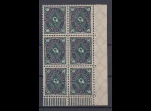 Dt. Reich 209 W I Plf. 6er Bl Eckrand rechts unten Posthorn zweifarbig 50 M **