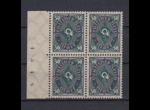 Deutsches Reich 209 W Seitenrand links + Bogennummer 4er Block Posthorn 50 M**