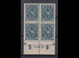 Deutsches Reich 209 P Unterrand 4er Block + HAN Posthorn zweifarbig 50 M **