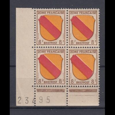 All. Besetzung Französische Zone Mi.Nr. 4 Eckrand 4er Block mit Bogennummer **
