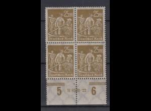 Deutsches Reich 242 mit Unterrand 4er Block mit HAN Arbeiter 25 M postfrisch