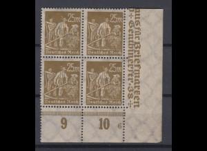Deutsches Reich 242 Eckrand rechts unten 4er Block mit Pl.Nr. 6 Arbeiter 25 M **