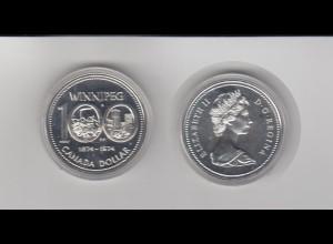 Silbermünze Kanada 1 Dollar 1974 Winnipeg stempelglanz