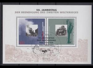 Bund Block 31 50. Jahrestag der Beendigung des 2. Weltkrieges 100 Pf ESST Bonn