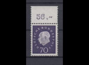 Bund 306 mit Oberrand Bundespräsident Theodor Heuss (III) 70 Pf postfrisch /3