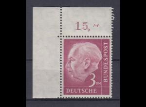 Bund 196 Eckrand links oben Bundespräsident Theodor Heuss 3 DM postfrisch