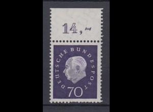 Bund 306 mit Oberrand Bundespräsident Theodor Heuss 70 Pf postfrisch /2