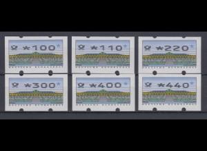 Bund ATM Versandstellensatz VS2 6 Werte Typ 2.2.3 postfrisch