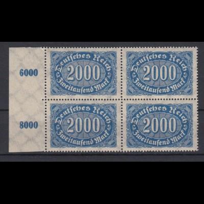 Deutsches Reich 253 mit Seitenrand links 4er Block Ziffern im Queroval 2000 M **