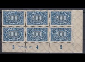 Deutsches Reich 253 Eckrand rechts unten 6er Bl. mit HAN Ziffern 2000 M **