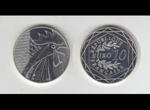 Silbermünze Frankreich 10 Euro Der Hahn 2014 Polierte Platte