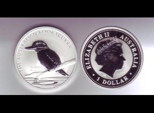 Silbermünze 1 OZ Australien Kookaburra 1 Dollar 2007