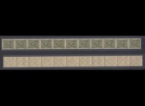 Dt. Reich 229 11er Streifen Posthorn einfarbig 8 M postfrisch