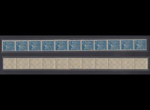 Dt. Reich 239 11er Str. Arbeiter 10 M teilweise seitlich geschlossene Zähnung /2