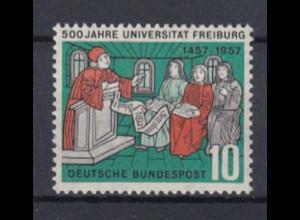 Bund 256 II mit Plattenfehler 500 Jahre Universität Freiburg 10 Pf postfrisch