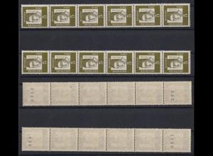 Bund 347y 6er Streifen mit g + u und u + g Nr. Bedeutende Deutsche 5 Pf **