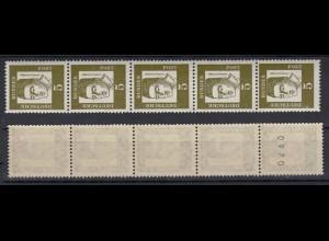 Bund 347y 5er Streifen gerade Nr. Bedeutende Deutsche 5 Pf postfrisch