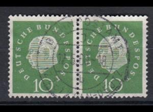 Bund 303 waagerechtes Paar Bundespräsident Heuss (III) 10 Pf gestempelt /1