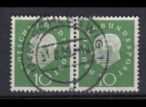 Bund 303 waagerechtes Paar Bundespräsident Heuss (III) 10 Pf gestempelt /2