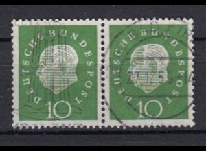 Bund 303 waagerechtes Paar Bundespräsident Heuss (III) 10 Pf gestempelt /5
