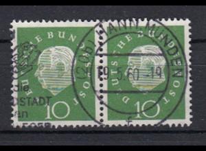 Bund 303 waagerechtes Paar Bundespräsident Heuss (III) 10 Pf gestempelt /8