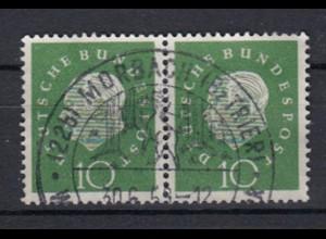 Bund 303 waagerechtes Paar Bundespräsident Heuss (III) 10 Pf gestempelt /9