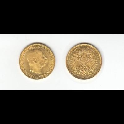 Goldmünze Österreich Franz Josef I. 10 Kronen 1912