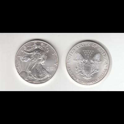 Silbermünze 1 OZ USA Liberty 1 Dollar 2001