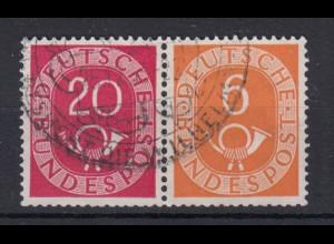 Bund 130,126 Zusammendruck W3 Posthorn 5 Pf/20 Pf gestempelt