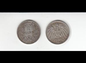 Silbermünze Kaiserreich 1 Mark 1909 D Jäger Nr. 17 /36