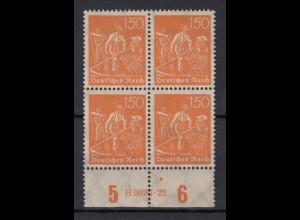 Deutsches Reich 189 Unterrand 4er Block mit HAN Schnitter 150 Pf postfrisch /1