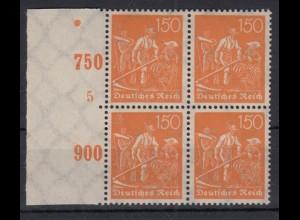 Deutsches Reich 189 Seitenrand links 4er Block mit Pl. Nr. 5 Schnitter 150 Pf **