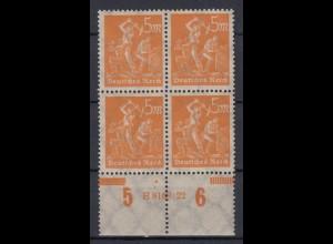 Deutsches Reich 238 Unterrand 4er Block mit HAN Bergarbeiter nach links 5 M **
