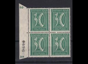 Deutsches Reich 162 Seitenrand links mit Bogennummer 4er Block Ziffer 30 Pf **