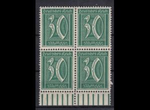 Deutsches Reich 162 4er Block mit Unterrand Ziffer 30 Pf postfrisch