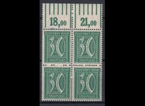 Deutsches Reich 162 mit Oberrand 4er Block Ziffer 30 Pf postfrisch