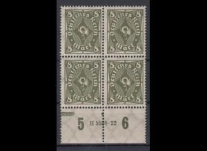 Deutsches Reich 229 P Unterrand 4er Block mit HAN Posthorn einfarbig 8 M **