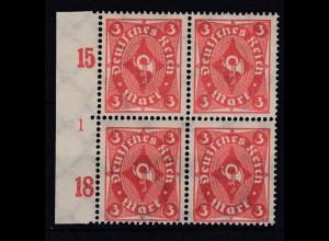 Deutsches Reich 225 Seitenrand links 4er Block Pl.Nr.1 Posthorn einfarbig 3 M **