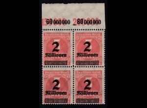 Dt. Reich 312 A Plf. IV im 4er Block mit Oberrand Ziffern 2 Mio auf 5000 M **