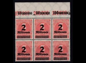 Dt. Reich 312 A Plf. IV im 6er Block mit Oberrand Ziffern 2 Mio auf 5000 M **