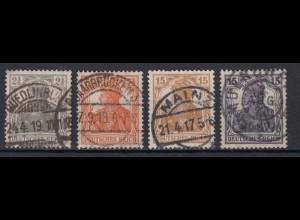 Deutsches Reich 98-101 Germania 2 1/2 Pf, 7 1/2 Pf und 2x 15 Pf gestempelt /3